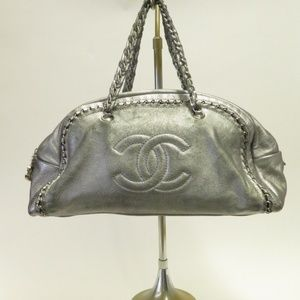 Chanel Luxe Ligne Large Bowler Bag Silver Leather